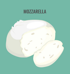 Mozzarella cheese big piece isolated on blue vector