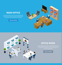 office isometric horizontal banners vector image