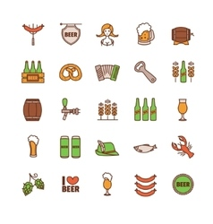 Oktoberfest thin line icons set vector