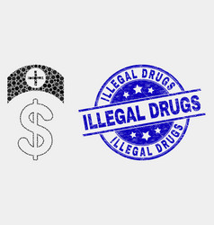 pixel medicine price icon and grunge vector image