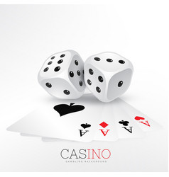 playing cards casino with two dice vector image