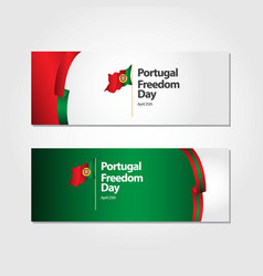 Portugal freedom day flag template design vector