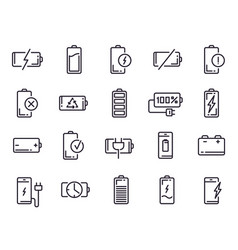 powered charge icon battery charging smartphone vector image