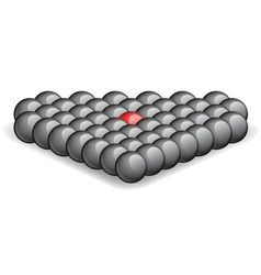 Red ball within black ones vector