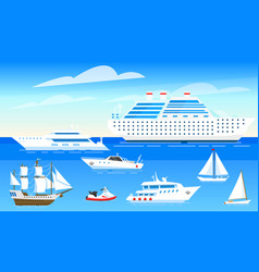 sea ships background set sailboats and boats vector image