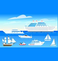 sea ships background set sailboats and boats vector image