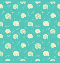 Seamless background with sea shells in sketch vector