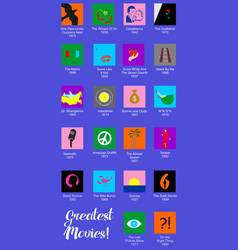 Set of flat design style icons dedicated to famous vector
