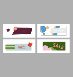 set of horizontal white banners with triangular vector image