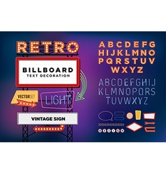 Set Retro neon sign vintage billboard vector