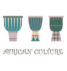 Set three traditional african drums vector