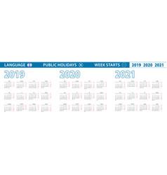 Simple calendar template in hebrew for 2019 2020 vector