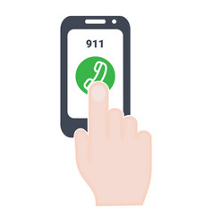 smartphone dialing emergency number on screen vector image