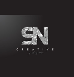 Sn s n letter logo with zebra lines texture vector