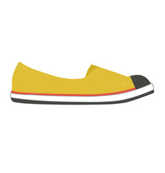 stylish female slipper of bright yellow color with vector image