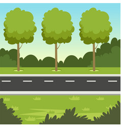 Summer green landscape with road and trees nature vector