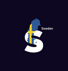 Sweden initial letter country with map and flag vector