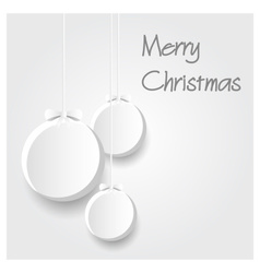 Three white paper christmas decoration baubles vector