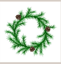 traditional green christmas fir wreath with cones vector image