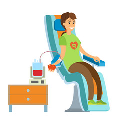 Transfusing blood woman donation health vector