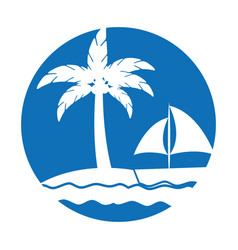 tree palm beach with sailboat vector image