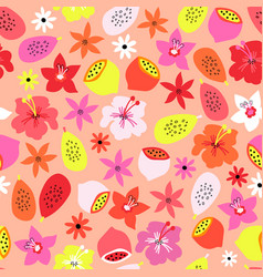 tropical summer fruit flowers seamless vector image