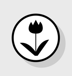 tulip sign flat black icon in white vector image
