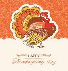 Turkey bird decor background for Thanksgiving day vector image