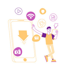 User character stand at huge mobile phone vector