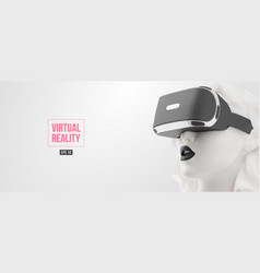 vr headset woman wearing virtual reality vector image