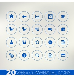 Web and commercial blue icons on light background vector