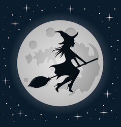 Witch on a broomstick on moon background vector