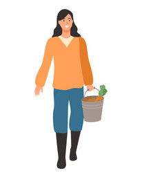 Woman farmer with vegetables in bucket isolated vector