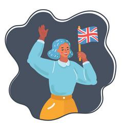 woman waving uk flag vector image
