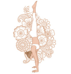 women silhouette headstand yoga pose adho mukha vector image