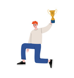 young man standing on one knee and holding cup vector image