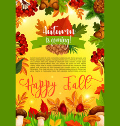 autumn and fall season banner template with leaf vector image vector image