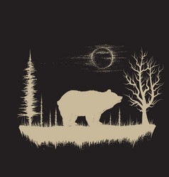 bear in the strange forest vector image vector image
