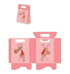 christmas deer handbags packages pattern vector image