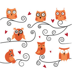 cute owls on the branch vector image