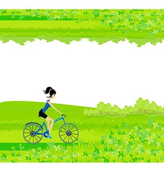 Cycling Poster with silhouette Girl - abstract vector image vector image
