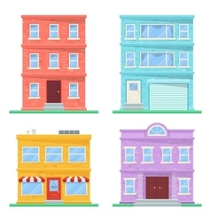 Flat building icons vector image vector image