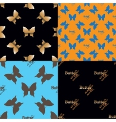 Four seamless pattern with butterflies vector image vector image