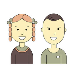 male and female flat icons vector image