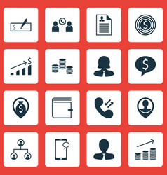 Set of 16 hr icons includes coins growth manager vector