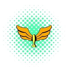 Wings trophy icon comics style vector image vector image