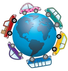 cars around earth globe vector image vector image