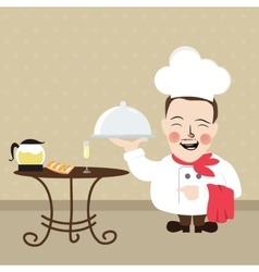 chef at restaurant present his food dish vector image vector image