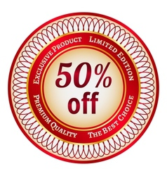 Label on 50 percent discount vector image