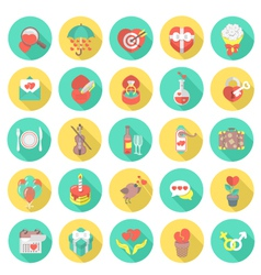 Love and Dating Round Flat Icons vector image vector image